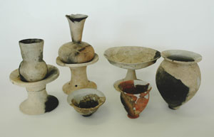 Pottery excavated from burned down dwelling